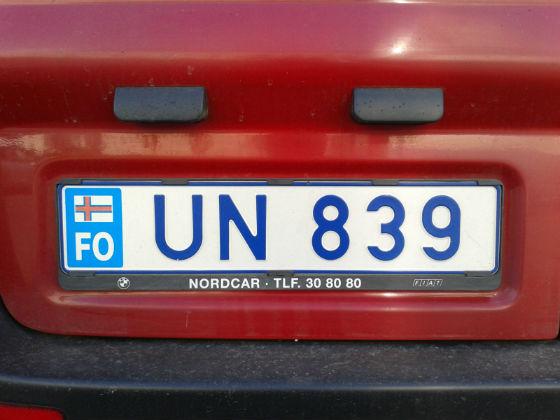 faroe islands license plate