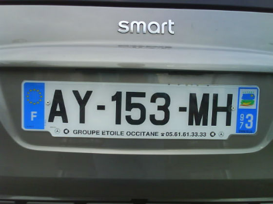 french guiana licence plate