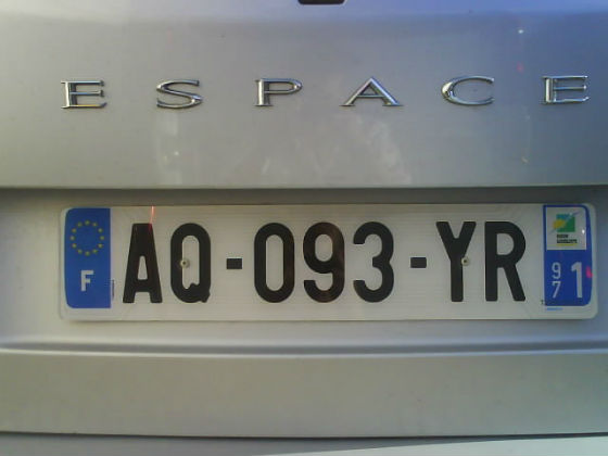 guadeloupe licence plate