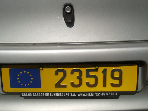 luxembourg license plate